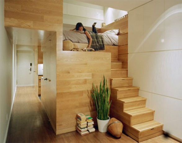 Apartment: Natural Wooden Furniture Studio Apartement Decorating