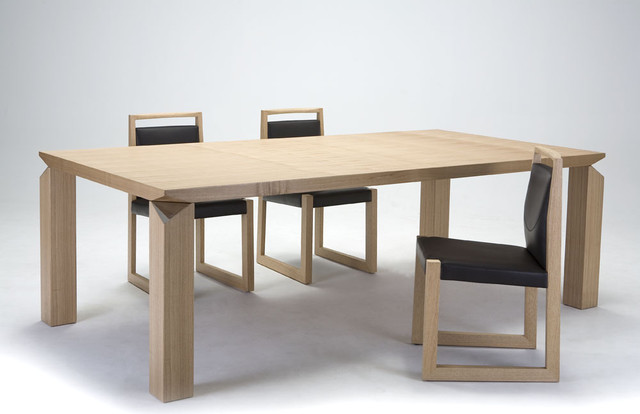 wooden material with black chair for modern dining tables set combined