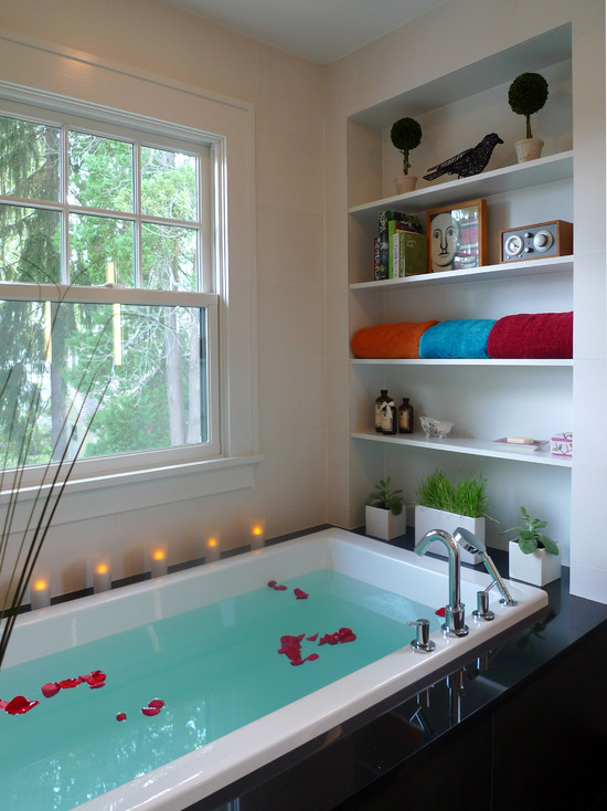 Romantic bath tub decoration with candles and roses bailey residence bathroom decorated with planters at built in wall shelving