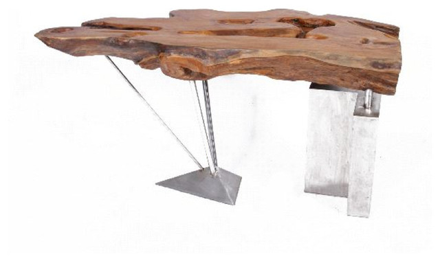 Furniture: Rustic Style Table Made Of Untreated Wood With Steel