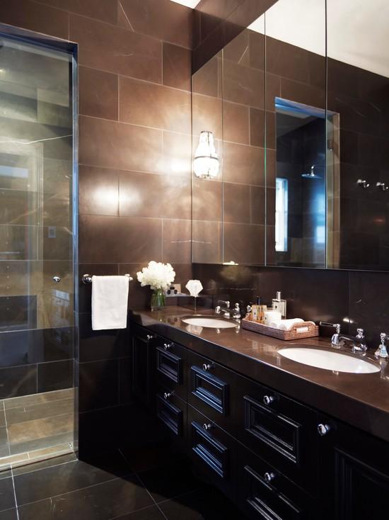 bathroom interior in park house design with dark color paint decor