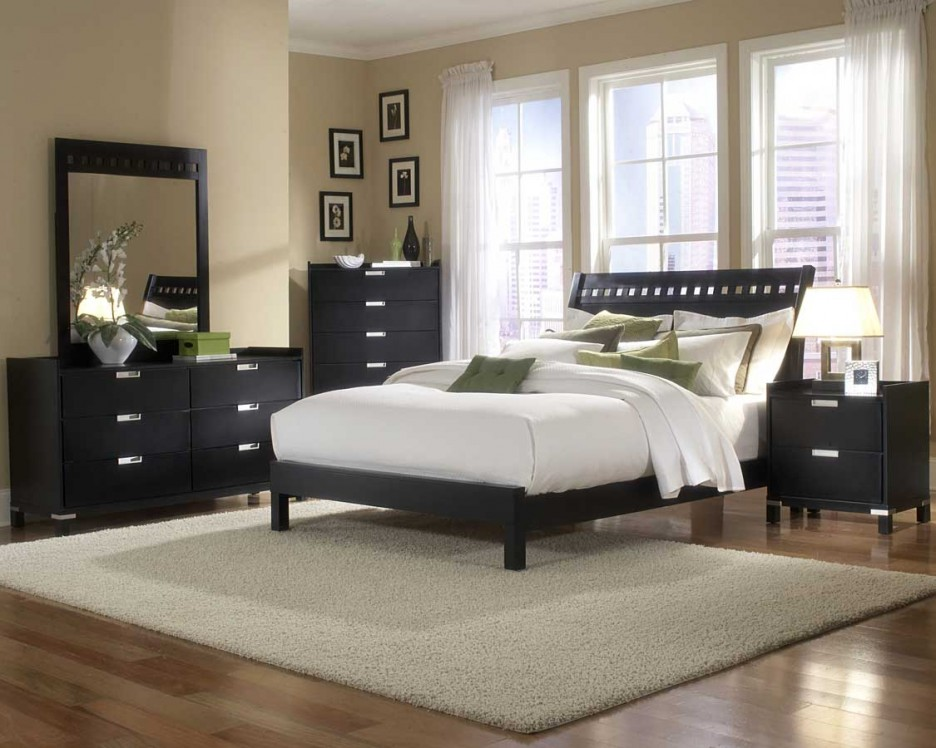 Simple Mens Bedroom Ideas With White Bedding Dark Furniture Equipped