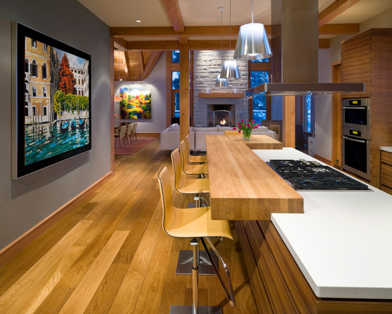 Villa: Sleek Contemporary Kitchen Design With Hardwood Kitchen ...