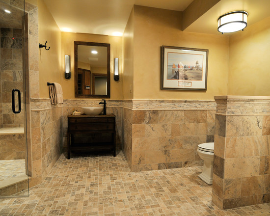 Http Www Claffisica Org Excellent Natural Light In Basements Created From Natural Material Sleek Traditional Bathroom Design With Covered Shower Design Applied Granite Tile Backsplash Ideas At Rustic Lodge Style Basement