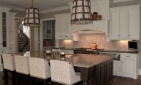 Bright Small Wood Projects Plans with Artistic Hanged Lamp decoration : Sleek Traditional Kitchen Design Applied Classic Pendant Lamps And Upholstered Kitchen Stools East Wood Valley Road Interior