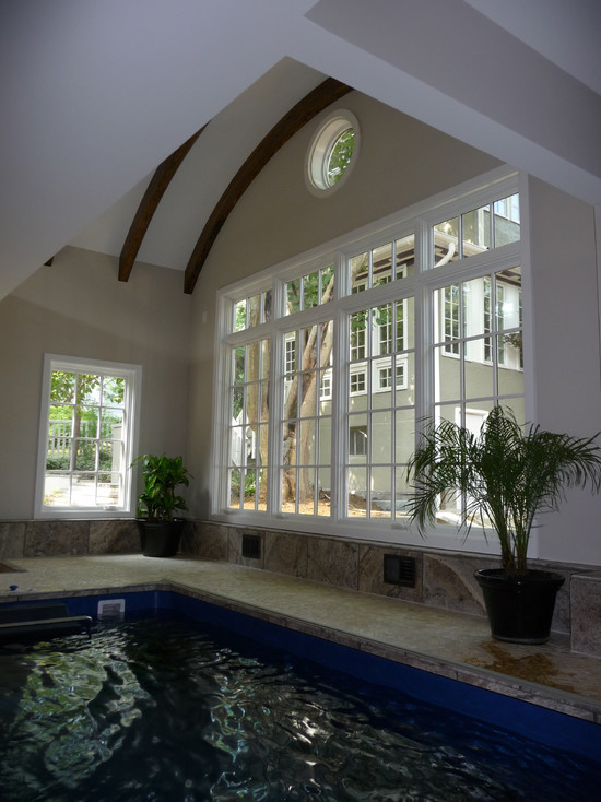 Exterior: Small Indoor Swimming Pool With Double Height Ceiling ...