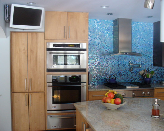 small blue kitchen tiles