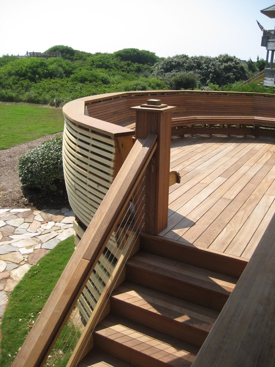 Fancy Backyard Decks :  Outdoor Staircase Fancy Round Wooden Bench Smart Ocean Deck Remodel