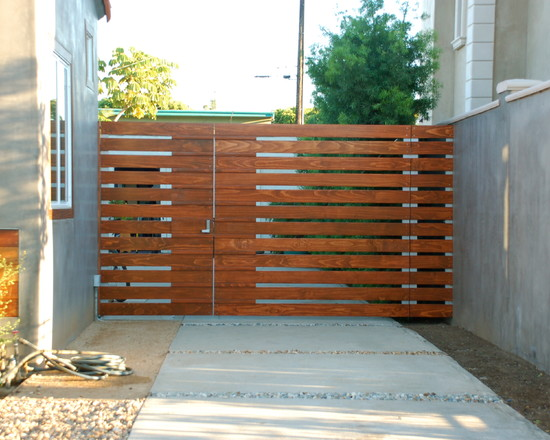 Gate Design Combined With Concrete Wall Exterior Decoration Ideas For