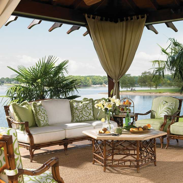 stunning lake view with tommy bahama outdoor furniture patio finished