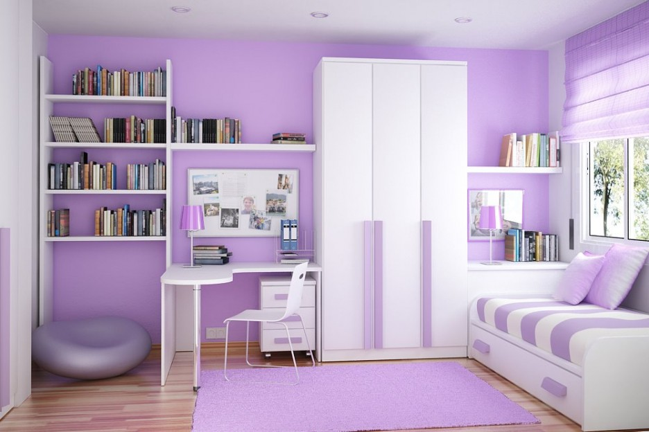 Design Ideas: Vivacious Small Room Storage Ideas With Purple Color ...