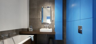 Awesome Apartment Design in Natural yet Modern Concepts: Fabulous Poland Apartment Blue Bathroom With Earthy Scheme Composition