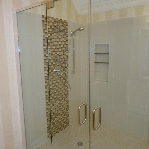Bathroom: Fascinating Details Glass Shower Door With Metal Handles ...