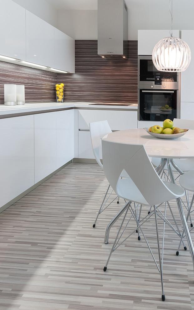 Fascinating Kitchen Corner With Brown Backsplash And White Cabinets