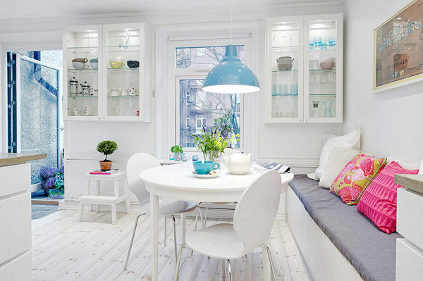 Great scandinavian apartment interior with small bright dining room furniture with white color design and minimalist style
