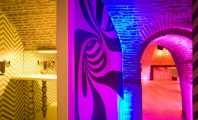 Amazing Old Building Bar with Contemporary Furniture : Inspiring Indoor Lighting System Of Evolution Club For Interior Decor In Colorful Touches While Accentuating Wall Parts With Mural