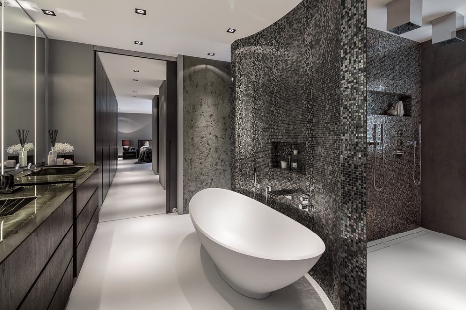 Glimmering Contemporary Villa Interior with Sophisticated Chic Design: Long Narrowed Entryway Of Rotterdam Residence  Master Bathroom To Access The Bath With Trendy Private Room For Shower