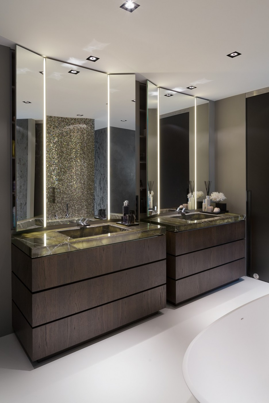 Glimmering Contemporary Villa Interior with Sophisticated Chic Design: Luxurious Double Vanity With Double Sinks And Bay Style Folding Mirrors As Another Main Feature Of Rotterdam Residence Bathroom