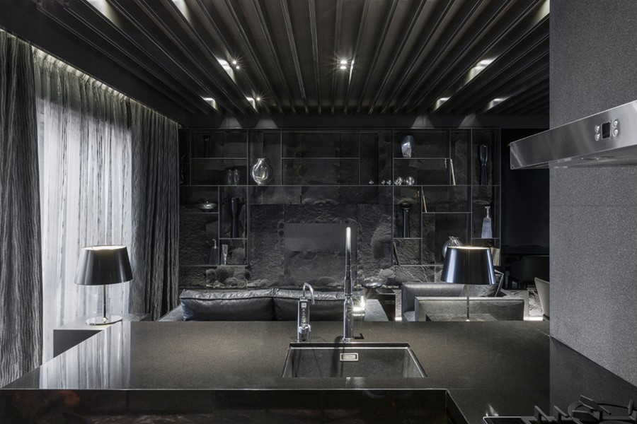 Spooky Yet Cool Home Interior Project In Full Black Serenity With Grey ...