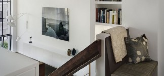 Modern Interior Models for Chic Eye Catching: Stunning Wooden Staircase Design At 7t Street Residence With Reading Nook Show Upholstered Bench And Mounted Wall Bookcase