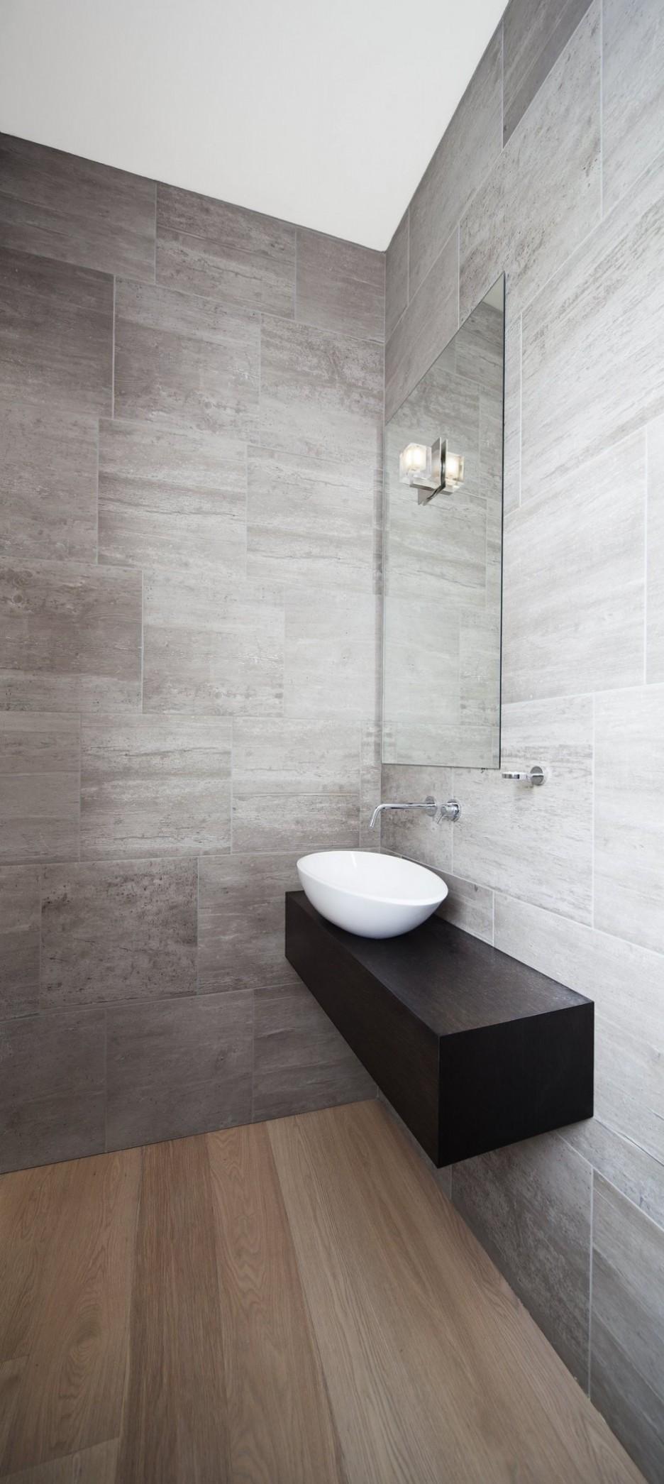 Wonderful Grey Painted Master Bathroom Interior Idea With Wooden