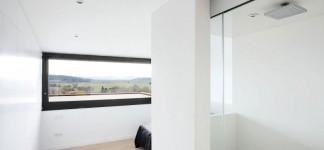 Fascinating Tiered Home Design Interior with Cool Elevation Setting: Wonderful View Outside Seen From Terraced House In Casavells Through Glass Window In White Concrete Wall And Wooden Floor