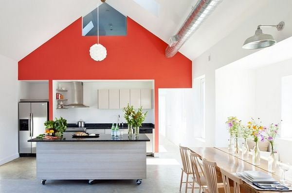 Kitchen: Amazing Bold Accent Wall Rolling Island Home Interior ...