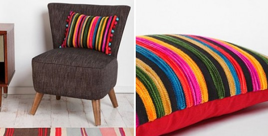 Trendy Throw Pillow Pattern Selection to Enhance Interior: Colorful Striped Pillow Fit For Eclectic Decoration Paired To Grey Stool Or Sofa With Striped Carpet Also