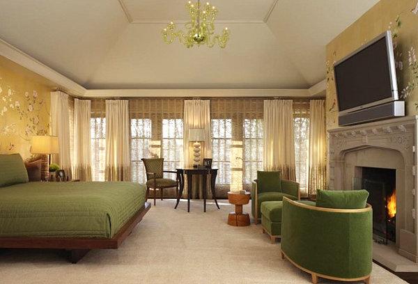 living room wallpaper design in luxury traditional bedroom interior