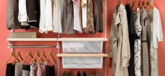 Important Free-Cluttered Interior Organization Tips: Incredible Organized Closet Design With Minimalist Traditional Style Used Pink Wall Decor And Small Design Ideas