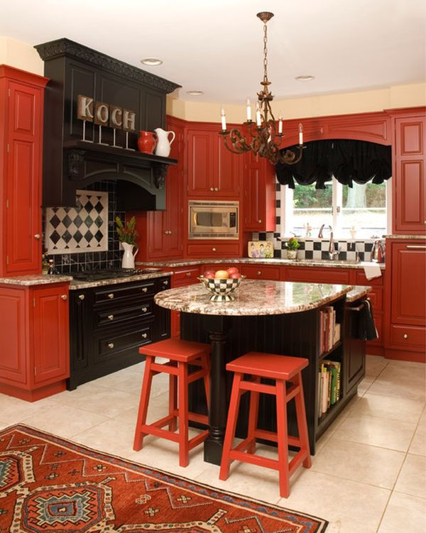 Http Www Claffisica Org Dramatic Red Interior For Some Effects And Senses Powerful Traditional Cherry Black Kitchen Interior Design With Marble Kitchen Countertop In Beige Color Design With Rustic Chandelier Lighting Decor