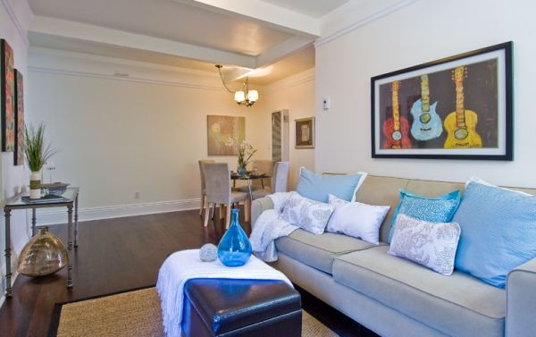 Grey Couch Blue Walls Jute Rug Living Room Pinterest
