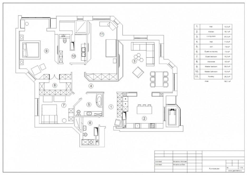 Striking geometrix design plan with large home interior design with