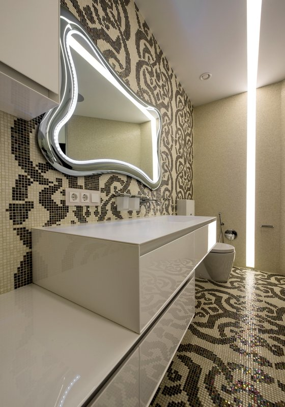 Mosaic wall and floor design and white bathroom vanity furniture decor