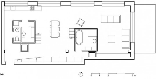 Cool Loft Apartment Design by Adn Architectures: Excellent Loft Apartment First Floor Plan Design For Living Space, Bathroom, Dining Space, And Two Parts For Kitchen