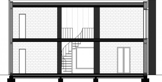 Generous Home Interior Construction by BLAF Architecten in Wondelgem: Minimalist Design Plan For The Home In Wondelgem With Brick Wall And The Unique Cricle Staircase