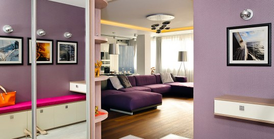Vivacious Apartment Interior Design with Purple Color: Smart Enlargement Method To Keep Modern Apartment In Odessa Utilizing Mirror To Brighten And Enlarge The Limited Spaced Room