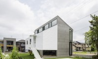 Modern Japanese Architecture Home Gives Inspiring Design Idea : Amazing Design Kawate Residence Home Design Exterior Used Small Home Shaped With Contemporary Style And Green Landscaping Decor