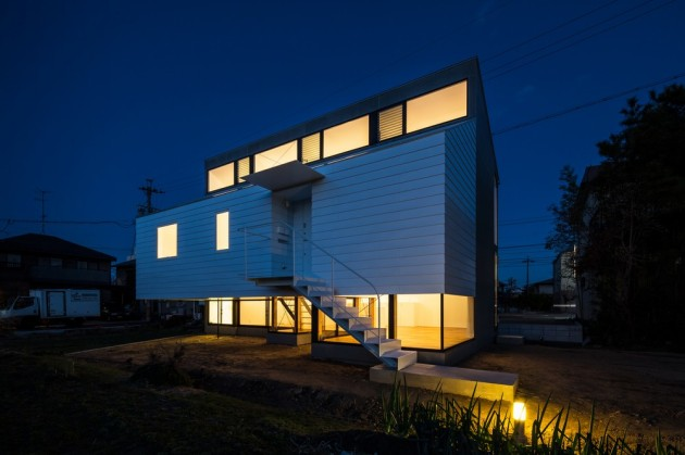 Modern Japanese Architecture Home Gives Inspiring Design Idea: Brilliant Kawate Residence Home Design Exterior Decorated With Small Home Shaped Used Wooden Wall And Green Landscaping Design ~ claffisica.org Architecture Inspiration