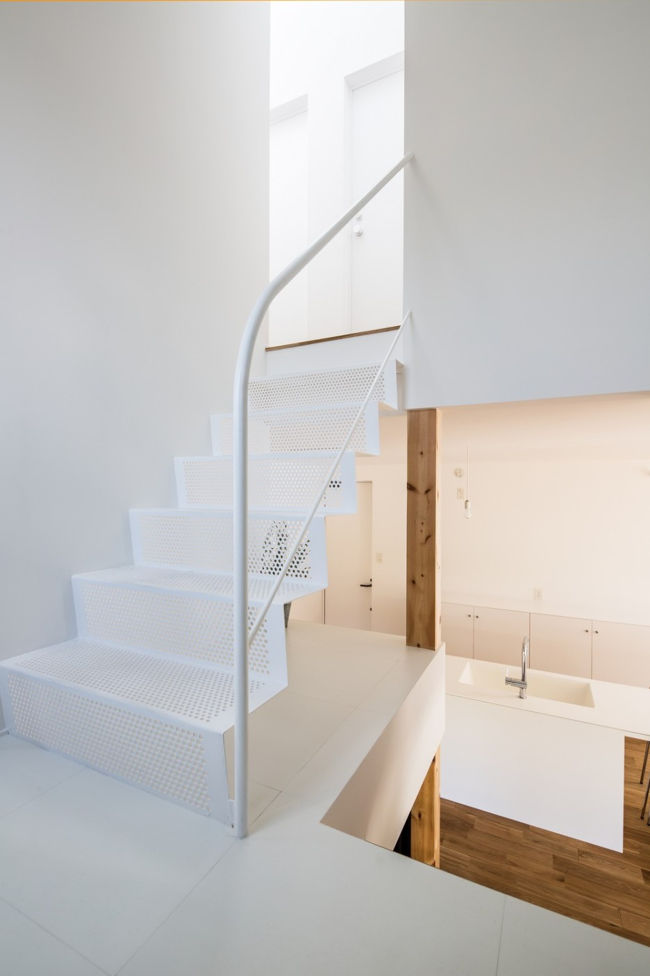 Modern Japanese Architecture Home Gives Inspiring Design Idea: Stunning Kawate Residence Home Design Interior In Staircase Used White Minimalist Decoration With Industrial Design For Home Inspiration