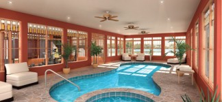 House Plans with Pools and Outdoor Kitchens for Rear Home Idea: Extravagant Indoor House Plans With Pools Spacious Room DEsign Finished With Indoor Swimming Pool Design In Unique Design With Stone Material