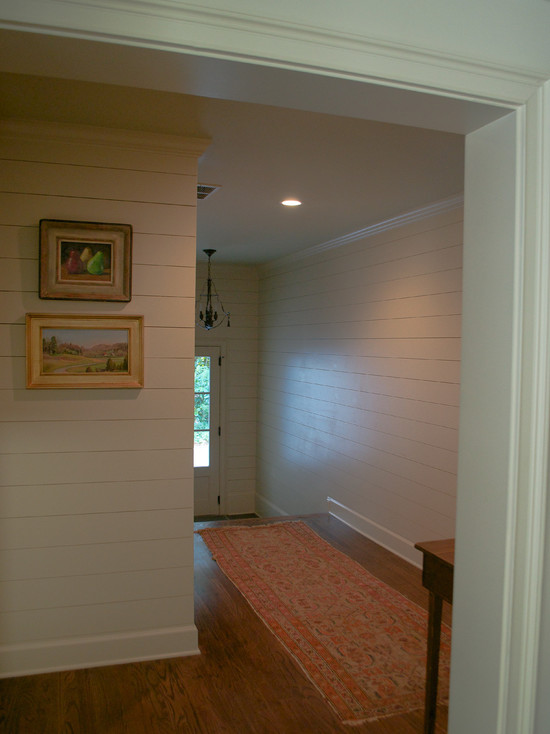Wonderful White Mountain House Designed in Modern Building Style: Comfortable Hallway Interior In Mountain Brook Road House Decorated With Wooden Flooring And Traditional Touch For Home Inspiration