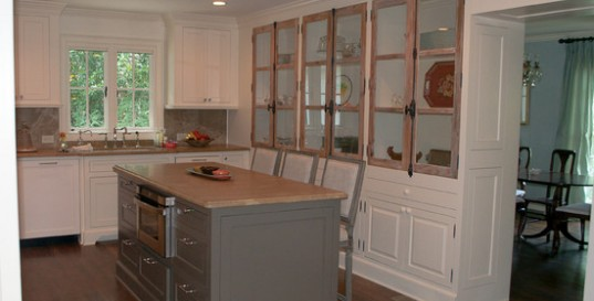 Wonderful White Mountain House Designed in Modern Building Style: Powerful Kitchen Island With Seating Design In Mountain Brook Road Home Interior With Traditional Finishing Used Wooden Material For Inspiration