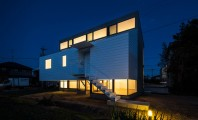 Modern Japanese Architecture Home Gives Inspiring Design Idea: Brilliant Kawate Residence Home Design Exterior Decorated With Small Home Shaped Used Wooden Wall And Green Landscaping Design