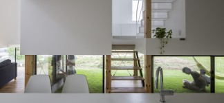 Modern Japanese Architecture Home Gives Inspiring Design Idea: Fantastic Kawate Residence Home Design Interior In Dining Space Decorated With Minimalist Modern Kitchen Furniture Used White Color Design Ideas