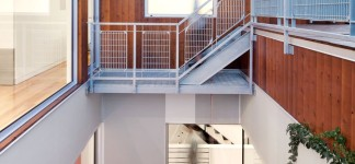Wonderful Contemporary Home Idea with Amazing Color Choice: Incredible Cut Out Home Design Exterior With Wooden Wall And Concrete Tile Flooring In Contemporary Design Ideas For Home Inspiration