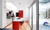 Wonderful Contemporary Home Idea with Amazing Color Choice: Powerful Kitchen White And Red Design Interior Used Minimalist Modern Kitchen Island With Seating Design Ideas For Home Inspiration