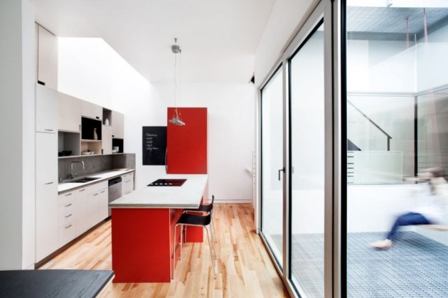 Wonderful Contemporary Home Idea with Amazing Color Choice: Powerful Kitchen White And Red Design Interior Used Minimalist Modern Kitchen Island With Seating Design Ideas For Home Inspiration ~ claffisica.org Architecture Inspiration