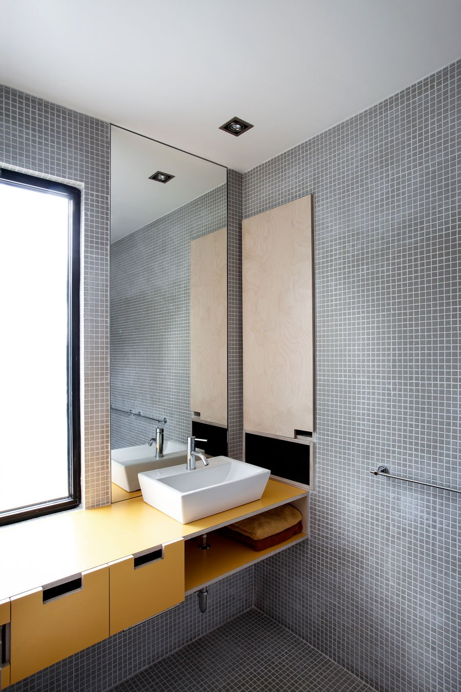 Wonderful Contemporary Home Idea with Amazing Color Choice: Unique Bathroom Design Interior With Mosaic Grey Wall And Floor Design Decorated With Yellow Bathroom Vanity Furniture For Inspiration