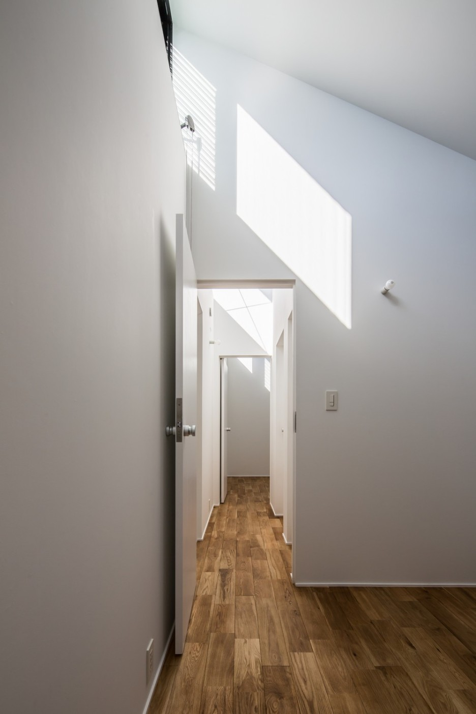 Modern Japanese Architecture Home Gives Inspiring Design Idea: Wonderful Kawate Residence Home Design Interior In Hallway Decorated With Wooden Flooring And White Wall Color Design Ideas For Inspiration